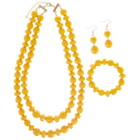 Bay Studio 3-pc. Yellow Bead Necklace & Earring Set Yellow/gold tone