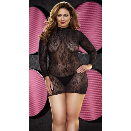 3ae14332c8c XGEN Products - Plus Size Long Sleeve Fishnet And Lace Chemise