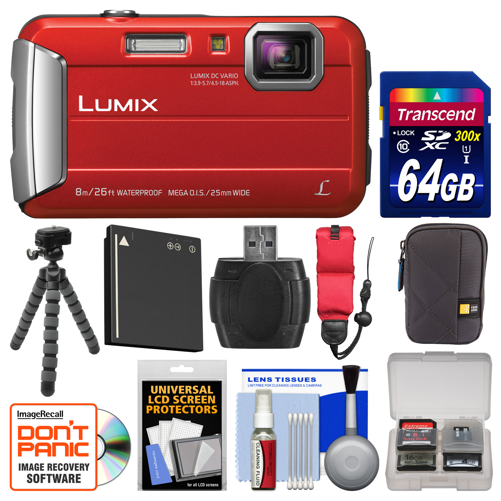Panasonic Lumix DMC-TS30 Tough Shock & Waterproof Digital Camera (Red) with 64GB Card +