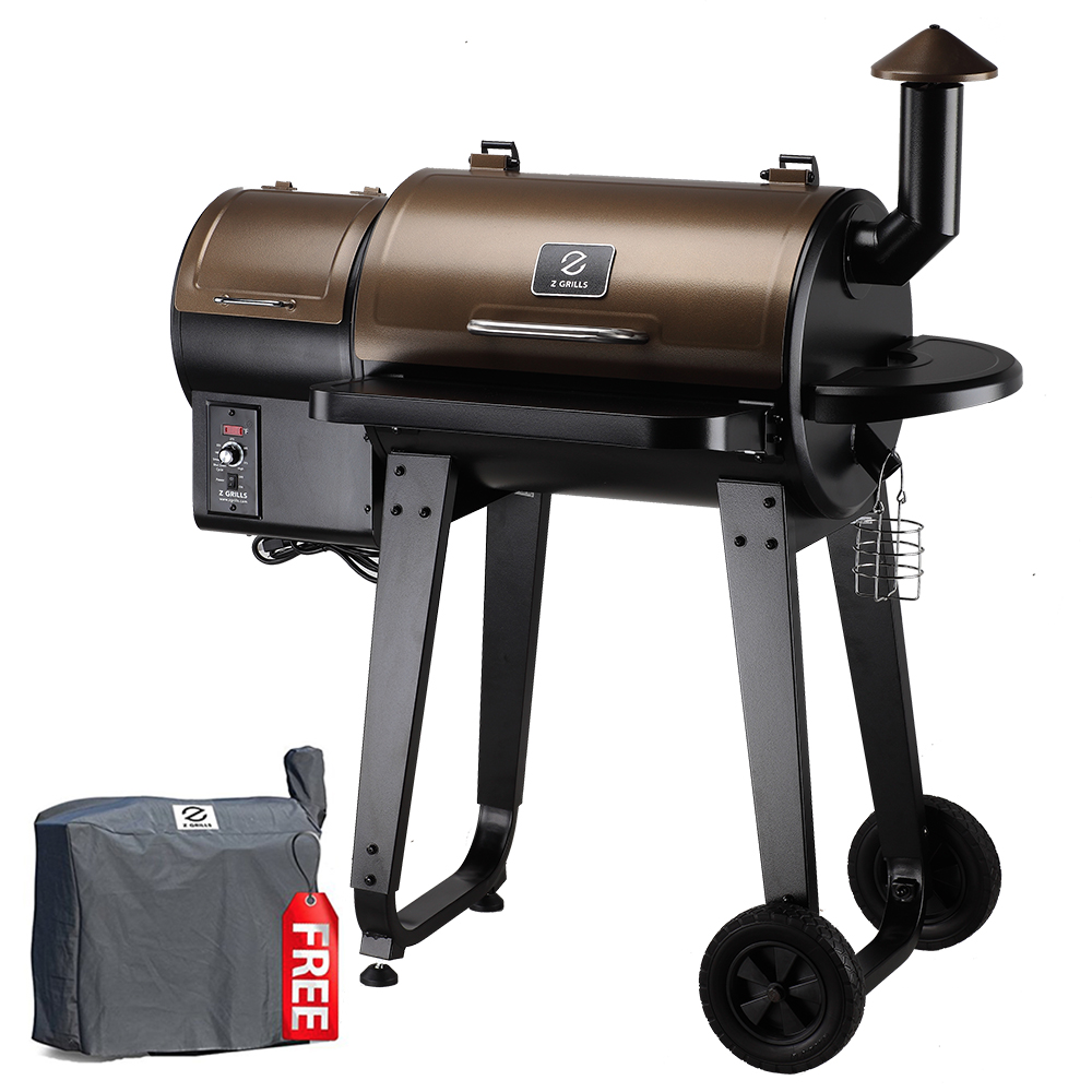 Z GRILLS Wood Pellet BBQ Grill and Smoker with Digital Temperature Controls and Free Patio Cover