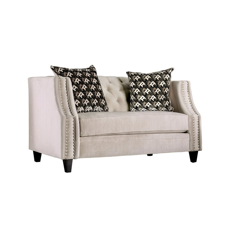 Furniture of America Miranda Velvet Loveseat in Beige
