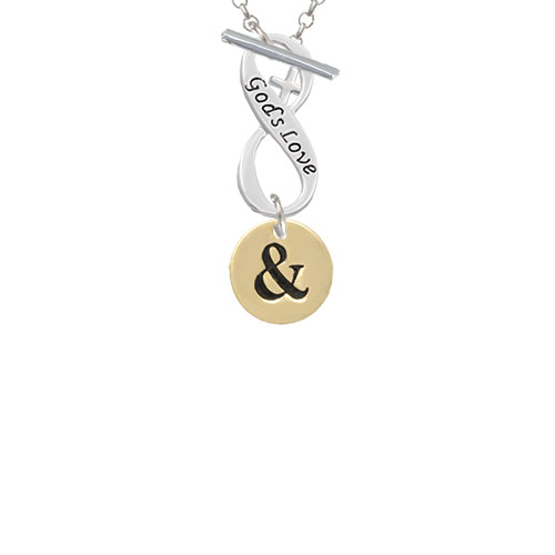 Gold Tone Disc 1/2'' - Symbol - Ampersand - & - God's Love Infinity Toggle Chain Necklace
