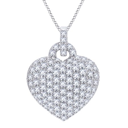 Topaz Bubble - Simulated White Topaz Bubble Heart Pendant Necklace in 14k White Gold Over Sterling Silver (3.5 Cttw)