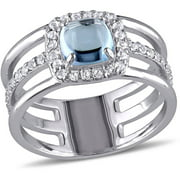 2.06 Carat T.G.W. Blue and White Topaz Sterling Silver Three-Row Halo Ring