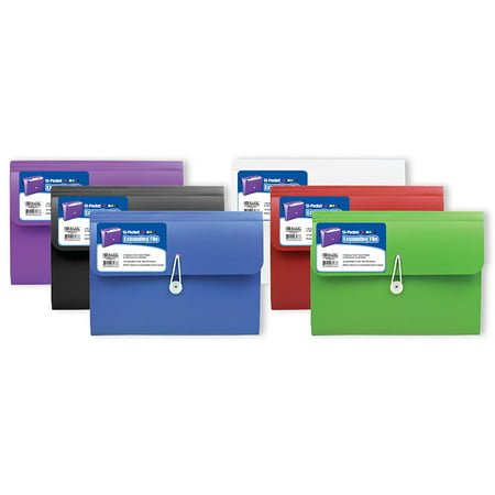 New 401877   13- Pocket Letter Size Poly Expanding File (6-Pack) Binders Cheap Wholesale Discount Bulk Stationery Binders River Stones