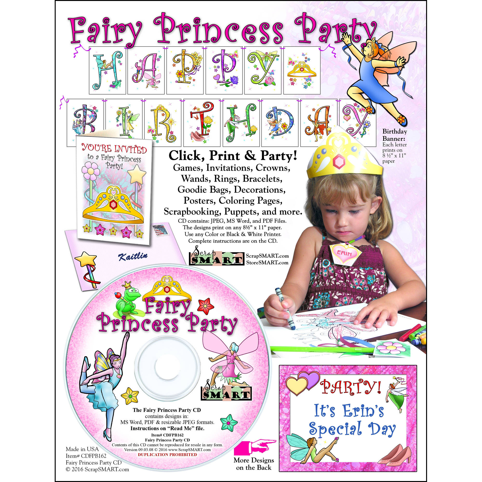 ScrapSMART Fairy Princess Party CD-ROM: Decorations, Crafts, Scrapbook and Coloring Pages