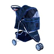 New MTN-G Deluxe Folding 3 Wheel Pet Dog Cat Stroller Carrier w Cup Holder Tray Black