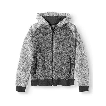 PHAT FARM Long Sleeve Two Tone Zip Up Sweater Fleece Hoodie (Big Boys)