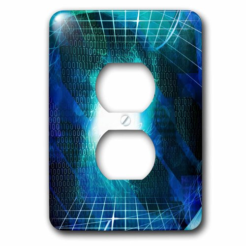 Image of 3dRose Aqua Numbers Background With White, Blue Squares Mesh Overlay Abstract, 2 Plug Outlet Cover