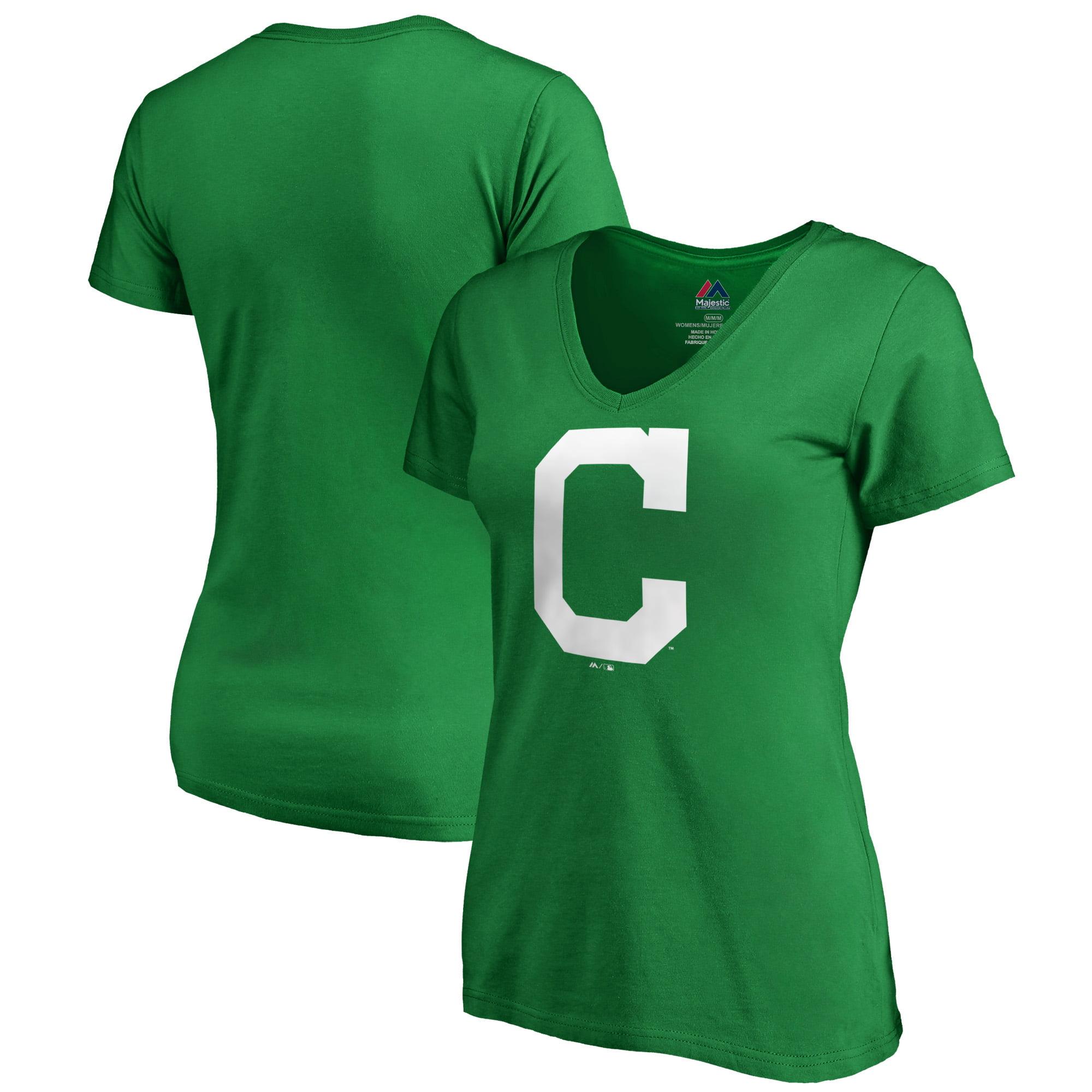 Cleveland Indians Majestic Women's St. Patrick's Day White Logo V-Neck T-Shirt - Kelly Green