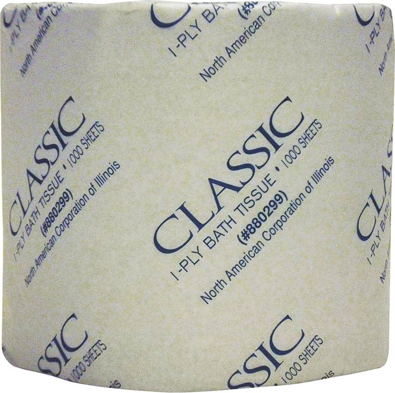 North American Paper 880299 Toilet Tissue, 1 Ply, 4 X 3-1/4 in Sheet, Paper, White