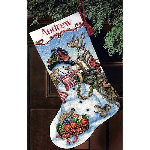 """Dimensions Gold Collection Snowman Gathering Stocking Counted Cross Stitch, 13"""" x 20"""", 18-Count"""