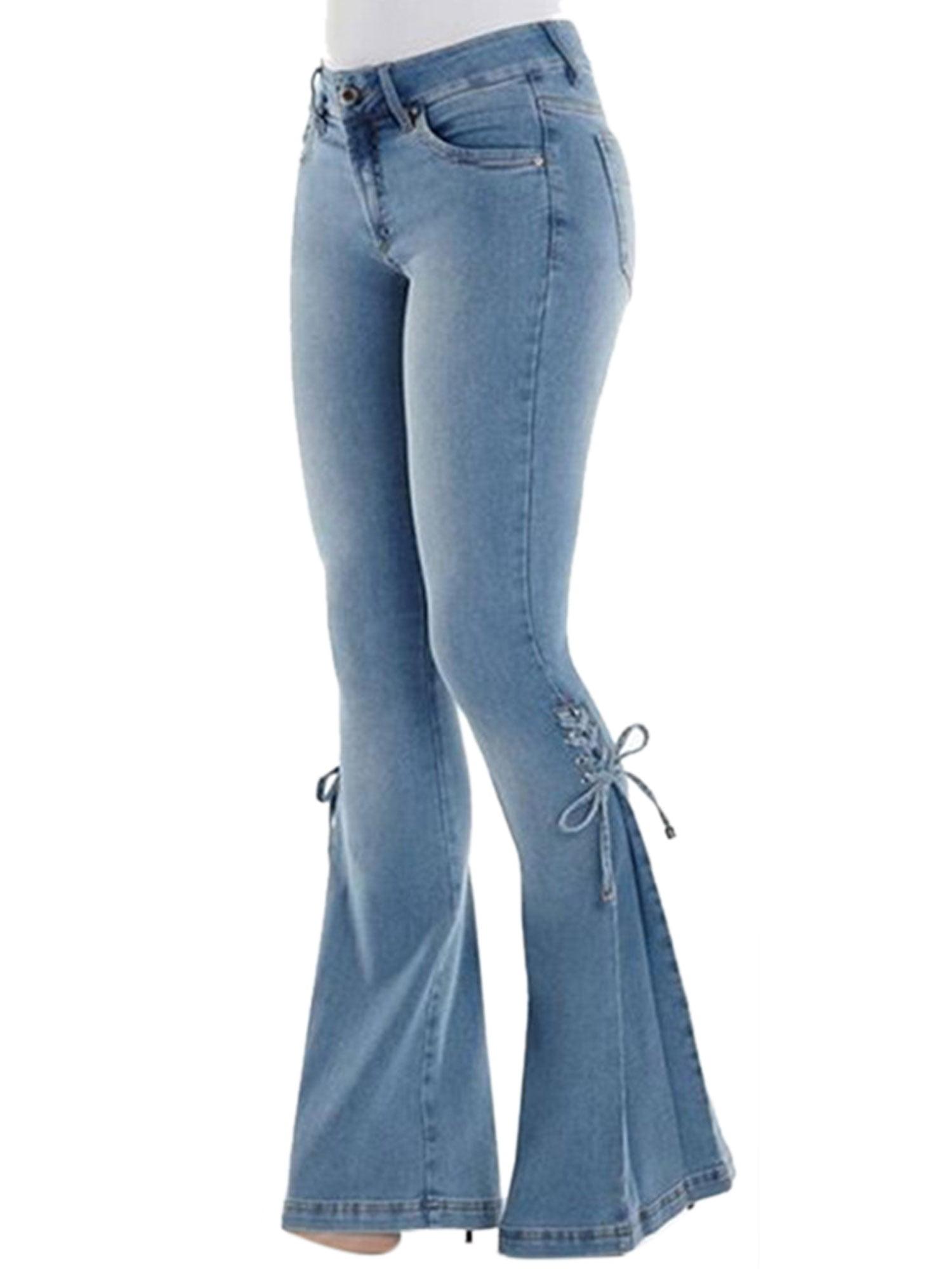 Hot Sale Kids Baby Girls Jeans Vintage Bell-bottom Trousers Wide leg Denim Pants