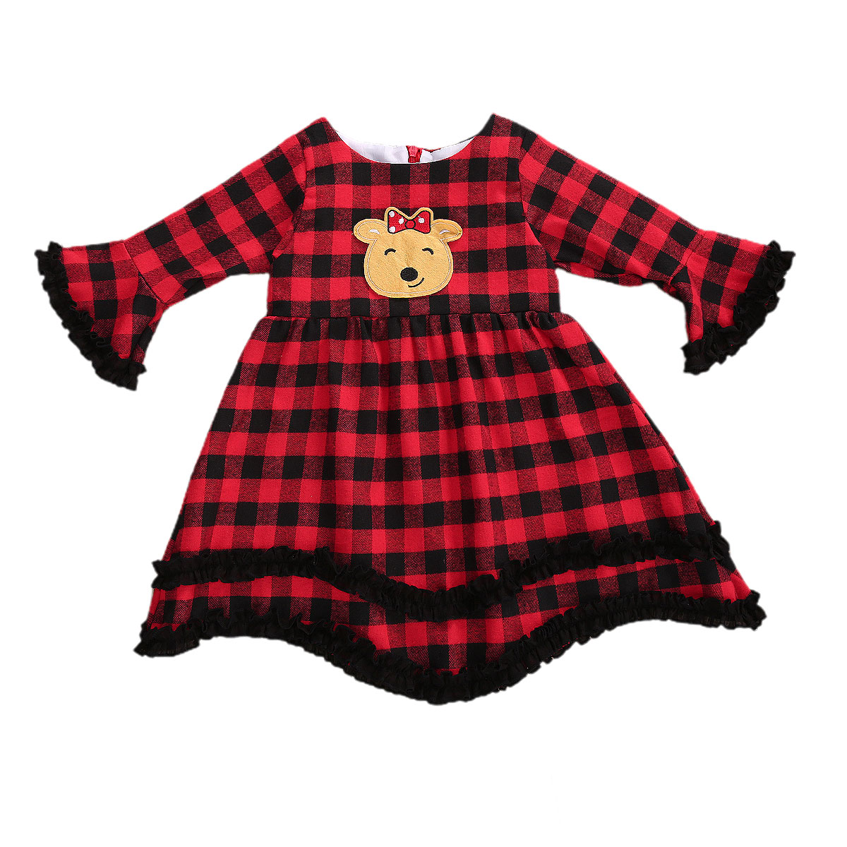 Christmas Theme Baby Dress,Red Girl Baby Cartoon Warm Holiday Baby Clothes
