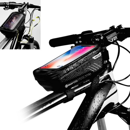 Bike Bags Bicycle Front Frame Bag Waterproof Handlebar Cycling Top Tube Touch Screen Large Capacity Mobile Phone Holder Fits Phones Below 6.2 Inches