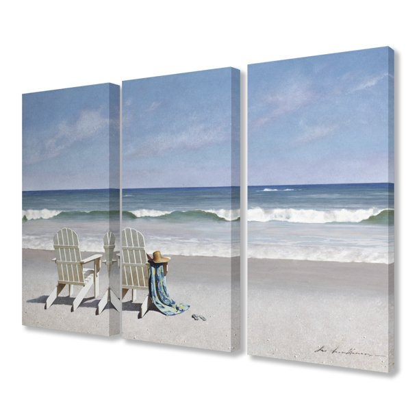 The Stupell Home Decor Two White Adirondack Chairs With Towel On The Beach Triptych Canvas Wall Art 3pc Each 16 X 24 Walmart Com Walmart Com