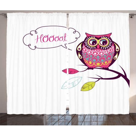 Owls Home Decor Curtains 2 Panels Set, Ornate Colorful Owl On The Branch Observing Flat Face Myst Animal Artsy Image, Living Room Bedroom Accessories, By (Mnt Flat Panel)