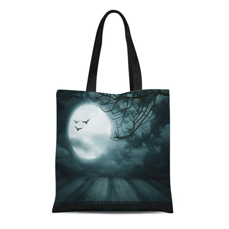 ASHLEIGH Canvas Tote Bag Blue Halloween Wooden Floor Branch and Blurred Full Moon Reusable Shoulder Grocery Shopping Bags Handbag