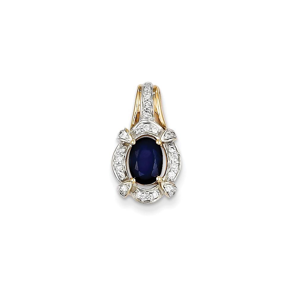 14k Yellow Gold Prong Set Diamond & Sapphire Pendant Wt- 0.19ct. Gem Wt- 1.05ct