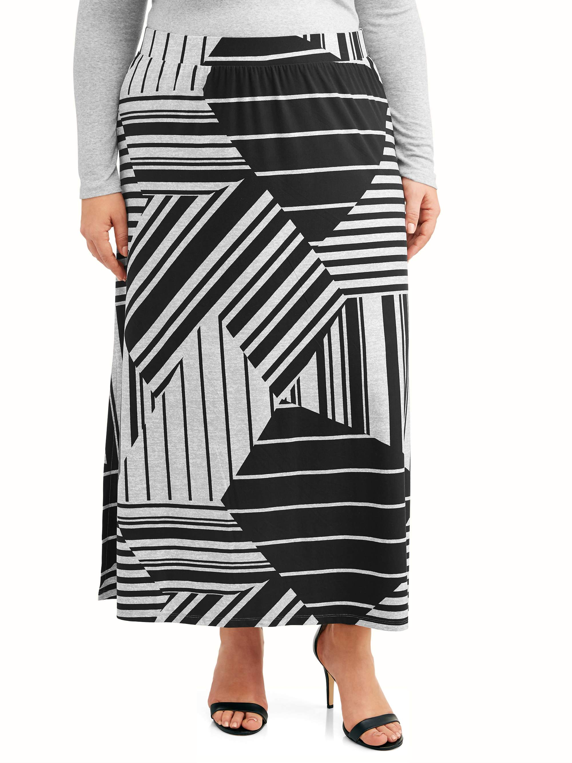 1b1edce7e9f Terra   Sky - Women s Plus Size Super Soft Knit Maxi Skirt - Walmart.com
