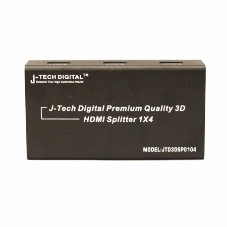 J-Tech Digital TM 4 Ports HDMI 1x4 Powered Splitter Ver 1.3 Certified for Full HD 1080P with Deep Color & HD Audio and Max Bandwidth of 10.2Gbps