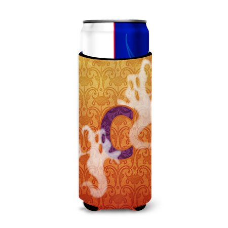 Halloween Ghosts Monogram Initial  Letter C Ultra Beverage Insulators for slim cans - Ghosts For Halloween