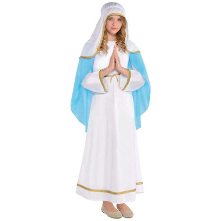 Mary Girls Child Deluxe Religious Christmas Nativity Scene Costume-M](Crime Scene Costume)