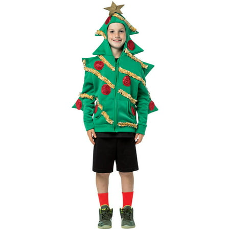 Hoodie Christmas Tree Teen Halloween Costume, One Size, (13-16) - Christmas Tree Costumes