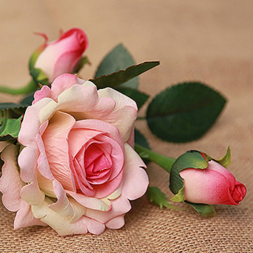 3PCS Artificial Flower Fake Floral Rose Flower Simulation Rose for Home Hotel Office Wedding Party Garden Craft Art Decor