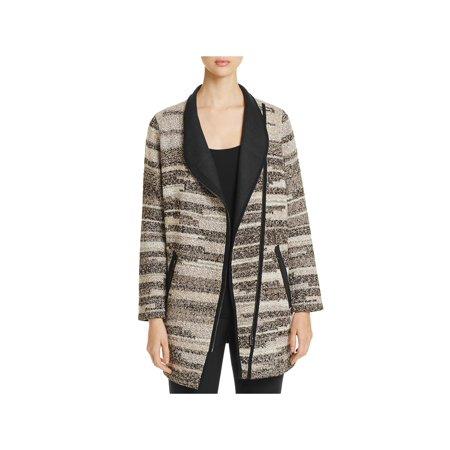 Nic + Zoe Womens Visionary Faux Leather Fringe Shawl Collar Jacket