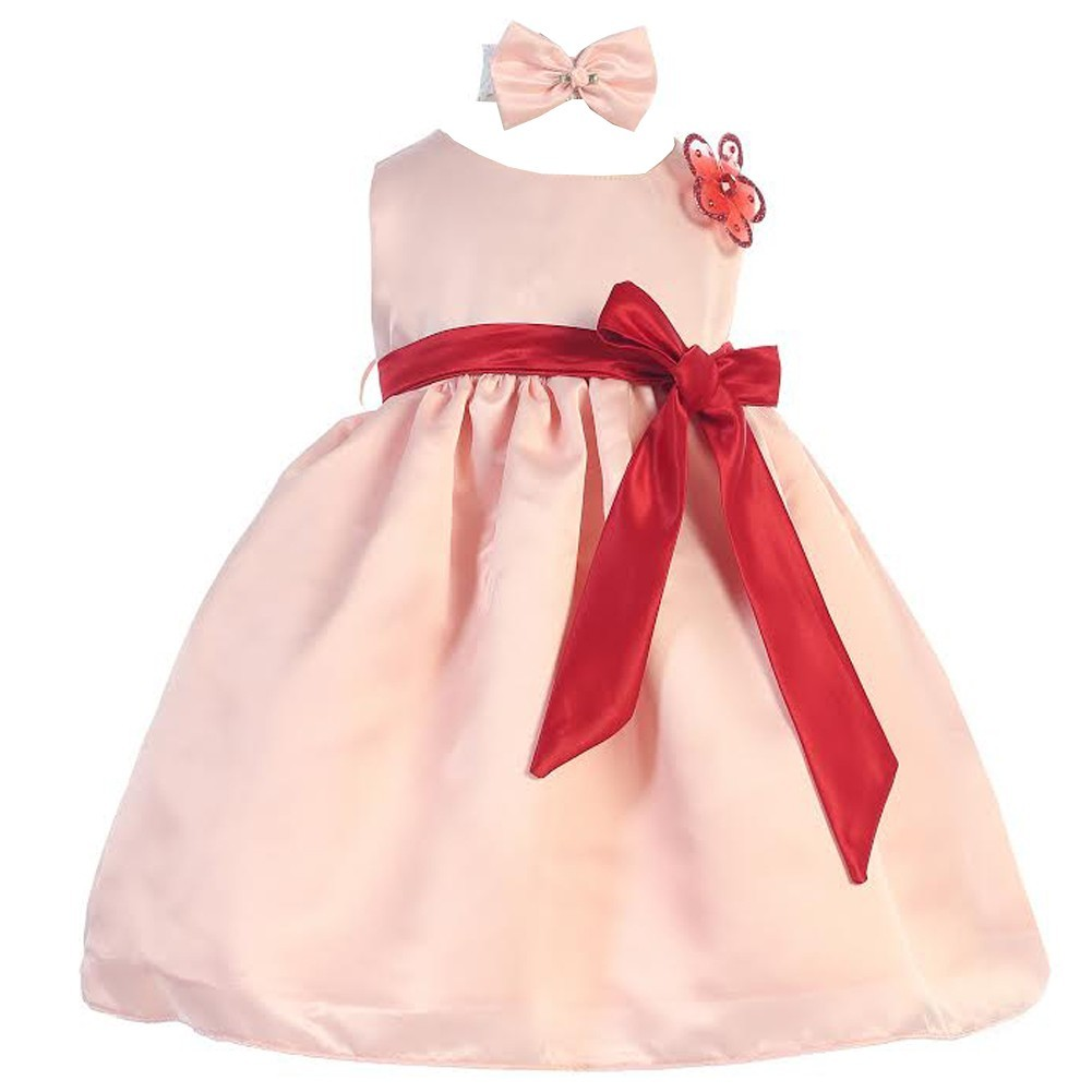 Baby Girls Peach Red Sash Dull Satin Special Occasion Headband Dress 24M