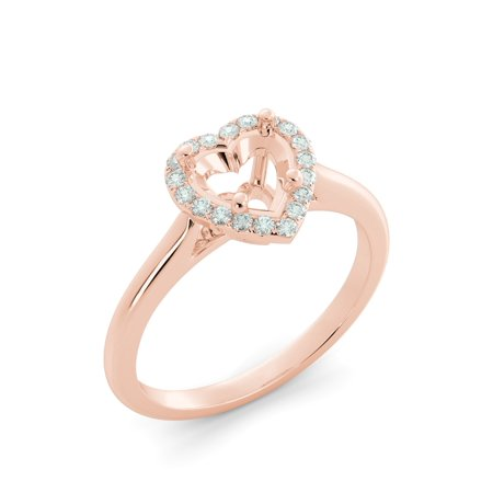 (Heart Halo Round Real Diamond Solitaire Semi Mount Engagement Ring 14k Rose Gold)