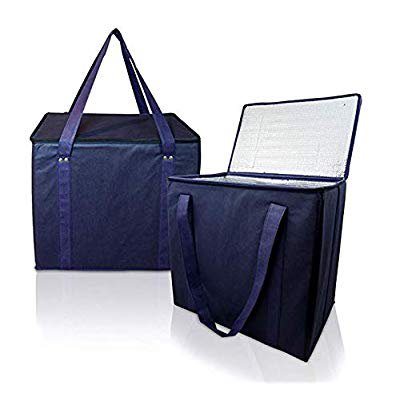 Insulated Shopping Bags for Groceries - Thermal Grocery Bag - Heavy Duty Shopping Bags Collapsible - Sturdy - With Zippered Top for Frozen Foods (2 Packs - Navy Blue) Insulated Shopping Bags for Groceries - Thermal Grocery Bag - Heavy Duty Shopping Bags Collapsible - Sturdy - With Zippered Top for Frozen Foods (2 Packs - Navy Blue)Our missionOur mission is to offer highest quality and longest lasting reusable bags that inspire people to reduce, reuse and recycle the world we live in. We are passionate about protecting the environment and solving the single-use problem by promoting the use of reusable shopping bags! How We are Different We use a thicker aluminum foam with the film for thermal isolation which holds the content at the original temperature for a longer time.Our insulated shopping bags are featured with longer handles reinforced with metal rivets to make them durable! Our bags are made up of a very high-quality non-woven canvas cloth to make them washable. Our rigid bag's design is for them to stand upright and make packing simple and easy! This design is perfect for car trunk and it prevents your shoppings from falling over. 100% satisfaction guarantee! our grocery bags are backed by our manufacturer 30-day money-back guarantee; with 1-year free replacement warranty! Click on add to cart Now and order a set of 2! Specification color: Navy blue- set of 2 Dimension: 14'x 13'x9' (Large) Weight: 3.79 lbs