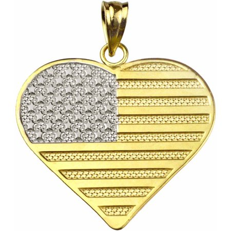 US GOLD Handcrafted 10kt Yellow Gold Heart-Shaped United States Flag Charm
