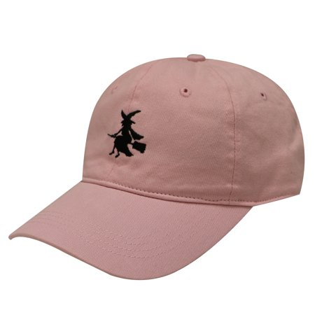 C104 Witch & Broom Cotton Baseball Cap 15 Colors (Pink) - Witch Hat And Broom