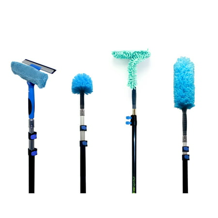 EVERSPROUT 4-Pack Duster Squeegee Kit with Extension-Pole (20+ Foot Reach) | Swivel Squeegee, Hand-Packaged Cobweb Duster, Microfiber Feather Duster, Flexible Ceiling Fan Duster, 12 ft Telescopic Pole ()