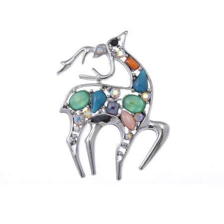 Studded Crystal Cat Eye Stone Rhinestone Deer Animal Fashion Jewelry Pin Brooch
