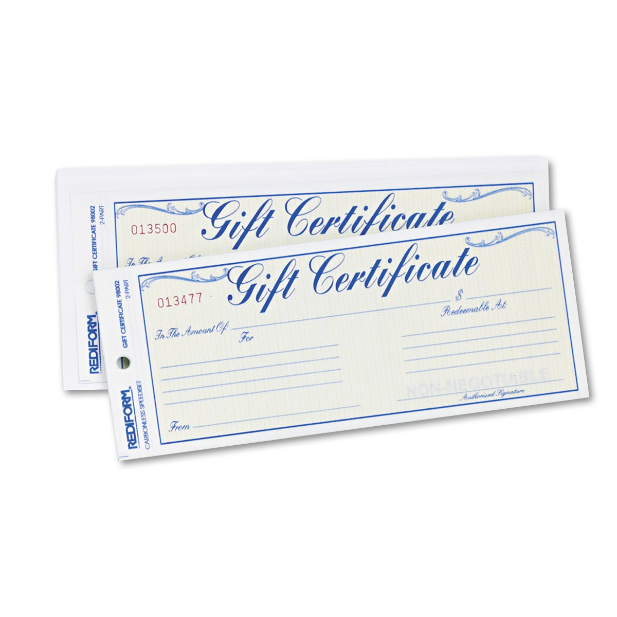 Rediform Gift Certificates w/Envelopes, 8-1/2w x 3-2/3h, Blue/Gold, 25/Pack -RED98002