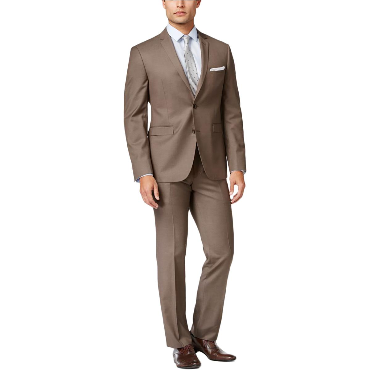 Perry Ellis Mens Sharkskin Very Slim Fit Two-Button Suit