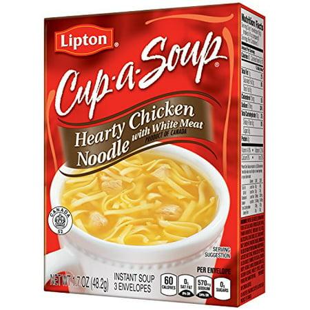 Instant Noodle Soup - (3 Pack) Lipton Cup-A-Soup Hearty Chicken Noodle Instant Soup Mix, 1.7 oz