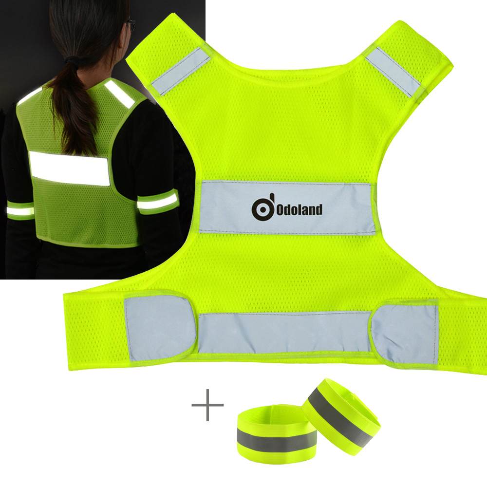 Reflective Running Cycling Vest Mesh Safety Vest w  Reflective Tape Arm Band for Size S M by