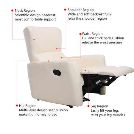Costway Ergonomic Manual Recliner Sofa Chair PU Leather Lounger Club Home Theater beige - image 1 of 8