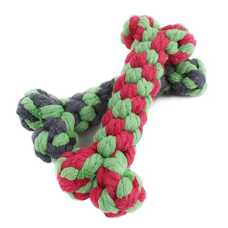Bone Pet Toy - 1Pc 15cm Pet Toys Supplies Cotton Rope Chew Knot Dog Bone Durable Braided Rope