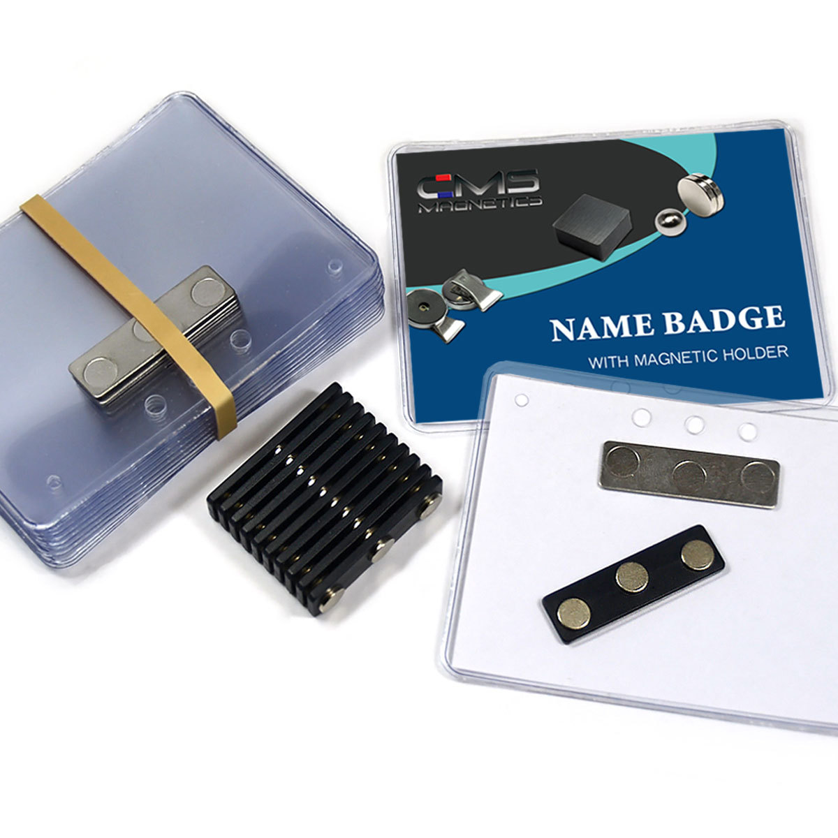 "12 Complete Sets CMS Magnetics® 3""x4"" Side Loading 3Mag-1 Neodymium Magnetic Name Badges"