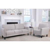 Devon & Claire Reagan Fabric Sofa and Armchair Set, Grey