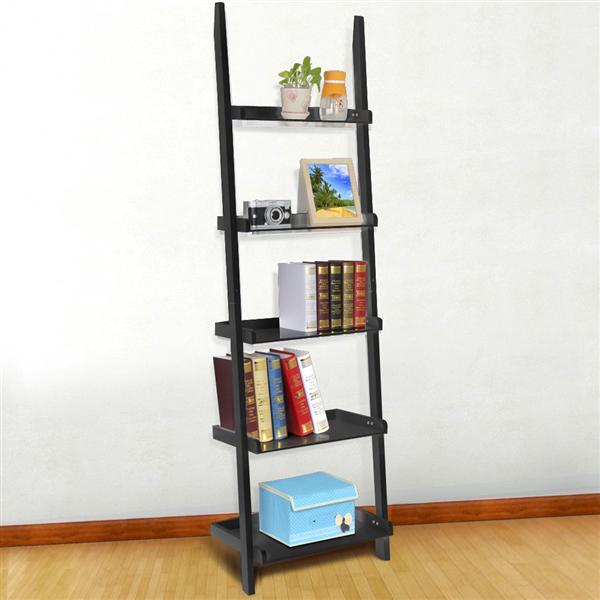Yaheetech Modern Black Wood 5 Tier Leaning Ladder Shelf Bookcase Bookshelf 70 Inch Book DVD CD Display Storage Shelves Unit