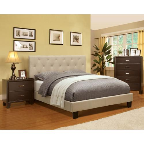 Furniture Of America Perdella 3 Piece Ivory Low Profile Bedroom Set Queen    Ivory