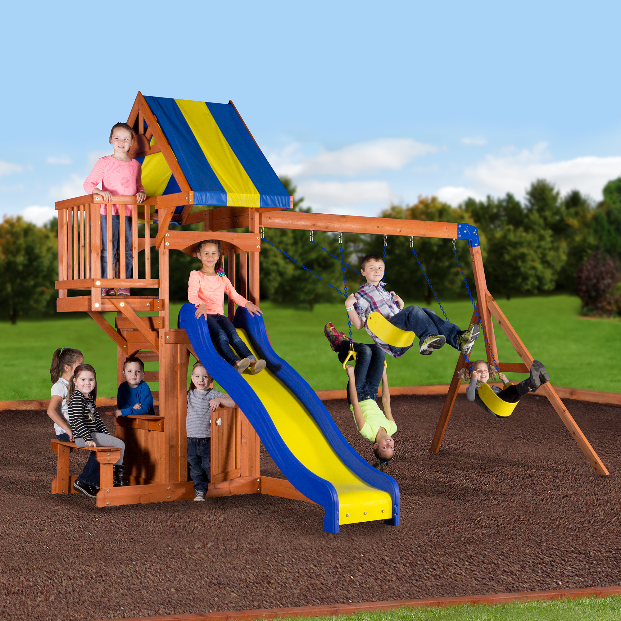 Backyard Discovery Peninsula Wooden Swing Set