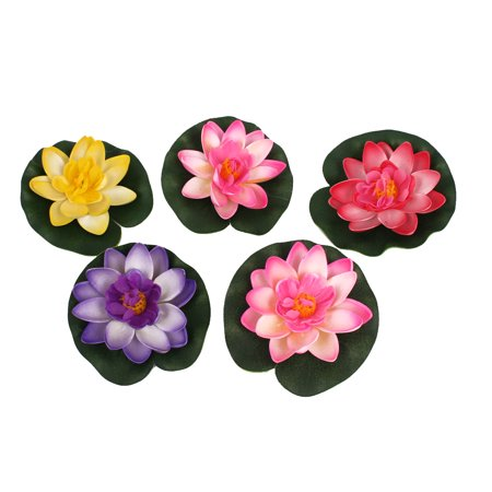 "3.5"" Dia Assorted Color Artificial Foam Floating Plant Decor for Fish Tank"