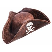 Brown Mini Pirate Tricorn Hat Skull Crossbones Unisex Costume Accessory by Forum Novelties